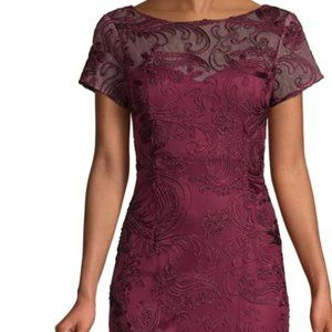 JS Collections evening Embroidered Lace A-Lin